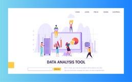 Het digitale Marketing Landingspagina van het Analyseonderzoek Seo Strategy Analyzing voor de Bedrijfsgroei door Creatief Karakte vector illustratie