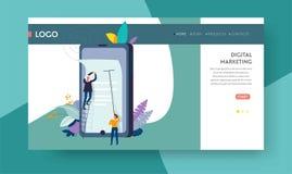 Het digitale marketing online malplaatje van de reclamewebpagina stock illustratie