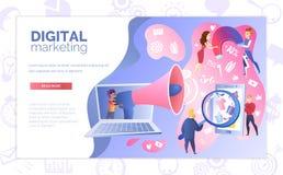 Het digitale Marketing Vectormalplaatje van de de Dienstwebsite royalty-vrije illustratie