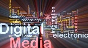 Het digitale media achtergrondconcept gloeien Stock Foto