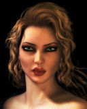 Het digitale Portret van de Illustratie van Jonge Blonde Vrouw Stock Foto