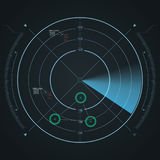 Het digitale radarscherm Futuristisch HUD met datailed panelen stock illustratie