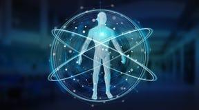 Het digitale x-ray van het achtergrond menselijk lichaamsaftasten interface 3D teruggeven Stock Afbeelding