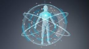 Het digitale x-ray van het achtergrond menselijk lichaamsaftasten interface 3D teruggeven Stock Foto