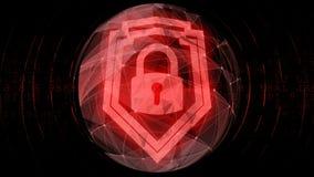 Het digitale rode symbool van het veiligheidshangslot voor beschermd cyphered gecodeerde informatie royalty-vrije illustratie