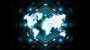 Het digitale het scherminterface van de wereldkaart 3D teruggeven Royalty-vrije Stock Afbeelding