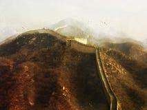 Het digitale schilderen van de grote muur van China, waterverfstijl Stock Foto