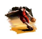 Het digitale schilderen van een basketbalspeler Royalty-vrije Stock Foto's