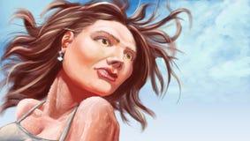 Het digitale Schilderen van een Vrouw Stock Foto's