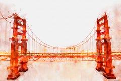 Het digitale schilderen van Golden gate bridge, waterverfstijl Royalty-vrije Stock Fotografie