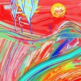 Het digitale schilderen van rood zonsonderganglandschap Stock Afbeeldingen