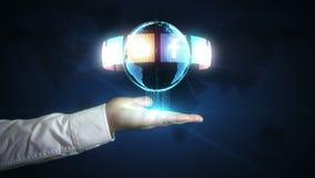 Het digitale sociale media netwerk in uw handen stock video