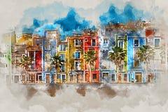 Het digitale waterverf schilderen van Villajoyosa-stad, Spanje stock illustratie