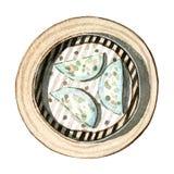 Het dim sum, de garnalen en het bieslookbollen van het waterverf Aziatische voedsel, hoogste mening Royalty-vrije Stock Afbeelding