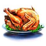 Het diner Turkije van gatenkerstmis met salade Stock Foto