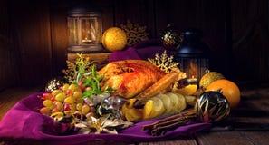 Het diner van de Kerstmisgans stock afbeelding