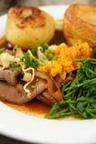 Het diner van het braadstukrundvlees stock afbeelding