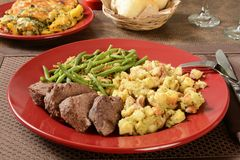 Het Diner van het braadstukrundvlees Stock Foto's
