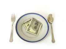 Het diner van het geld royalty-vrije stock fotografie