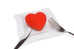 Het diner van het hart dat op witte achtergrond wordt geïsoleerdp Stock Afbeeldingen