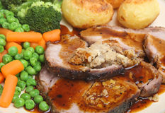 Het Diner van het Varkensvlees van het braadstuk Royalty-vrije Stock Foto's