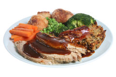 Het Diner van het Varkensvlees van het braadstuk stock afbeeldingen