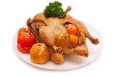 Het diner van Kerstmis. De eend van het braadstuk Stock Foto