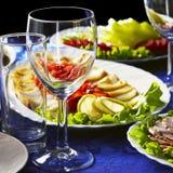 Het diner wordt gediend Stock Fotografie