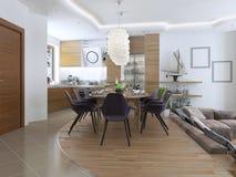 Het dineren keukenontwerp in een moderne stijl met een eettafel en Stock Foto's
