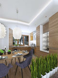 Het dineren keukenontwerp in een moderne stijl met een eettafel en Stock Afbeelding