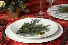 Het dinerlijst van Kerstmis stock afbeelding