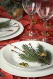 Het dinerlijst van Kerstmis stock foto's