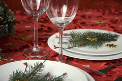 Het dinerlijst van Kerstmis stock afbeeldingen