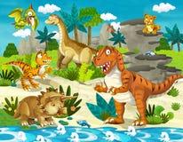 Het dinosaurusland - illustratie voor de kinderen vector illustratie