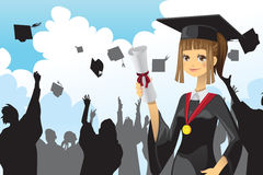 Het diploma van de het meisjesholding van de graduatie Royalty-vrije Stock Afbeeldingen