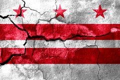 Het district van Colombia, Washington roestte gebarsten vlag, roestige achtergrond De Verenigde Staten van Amerika royalty-vrije illustratie