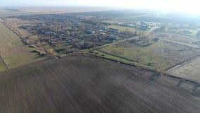 Het District van dorpselitnyy Krasnoarmeyskiy, Krasnodar Krai, Rusland Het vliegen bij een hoogte van 100 meters De ruïne en de v Royalty-vrije Stock Afbeelding