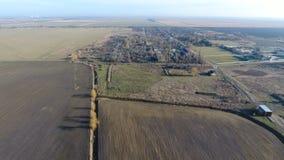 Het District van dorpselitnyy Krasnoarmeyskiy, Krasnodar Krai, Rusland Het vliegen bij een hoogte van 100 meters De ruïne en de v Stock Foto