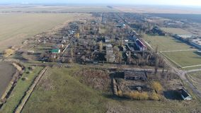 Het District van dorpselitnyy Krasnoarmeyskiy, Krasnodar Krai, Rusland Het vliegen bij een hoogte van 100 meters De ruïne en de v Royalty-vrije Stock Afbeeldingen