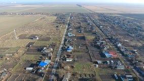 Het District van dorpselitnyy Krasnoarmeyskiy, Krasnodar Krai, Rusland Het vliegen bij een hoogte van 100 meters De ruïne en de v Stock Fotografie