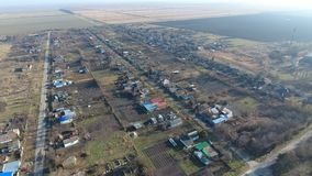 Het District van dorpselitnyy Krasnoarmeyskiy, Krasnodar Krai, Rusland Het vliegen bij een hoogte van 100 meters De ruïne en de v Royalty-vrije Stock Foto's