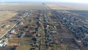 Het District van dorpselitnyy Krasnoarmeyskiy, Krasnodar Krai, Rusland Het vliegen bij een hoogte van 100 meters De ruïne en de v Stock Afbeelding