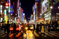 Het District van Ginza in Tokyo Stock Afbeelding