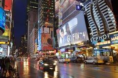 Het District van het theater bij nacht, Manhattan, NYC Royalty-vrije Stock Foto's