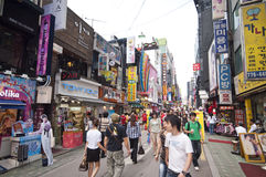Het district van Myeongdong in Seoel Stock Afbeelding