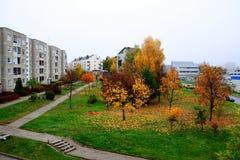 Het district van Pasilaiciai van de Vilniusstad in de herfsttijd royalty-vrije stock foto's