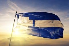 Het district van Thrace van stof die van de de vlag de textieldoek van Griekenland op de hoogste mist van de zonsopgangmist golve royalty-vrije illustratie