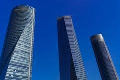 Het districtsctba wolkenkrabbers van Madrid, Spanje Cuatro Torres royalty-vrije stock afbeeldingen