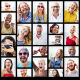 Het diverse Concept van de de Portrettenzomer van de Mensenvariatie stock afbeeldingen