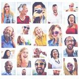Het diverse Concept van de de Portrettenzomer van de Mensenvariatie royalty-vrije stock afbeeldingen